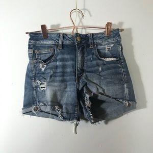 AEO • Denim Distressed Shorts | 2